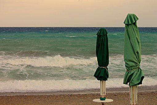 Parasols, Beach, Closed, Sea, Wind, Wave, Stormy