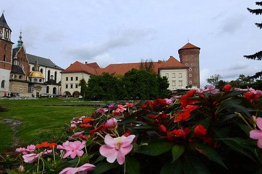 Kraków, Wawel, Architecture, Flowers