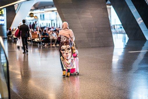 Woman, Doha, Qatar, Arab, Colorful, Airport