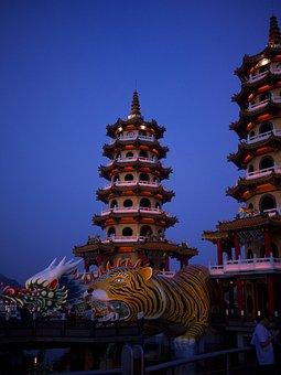 Taiwan, Takao, Art Of Fighting Tower, Lotus Lake, Tower