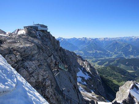 Dachstein, Mountains, Austria, View, Snow, Blue Sky