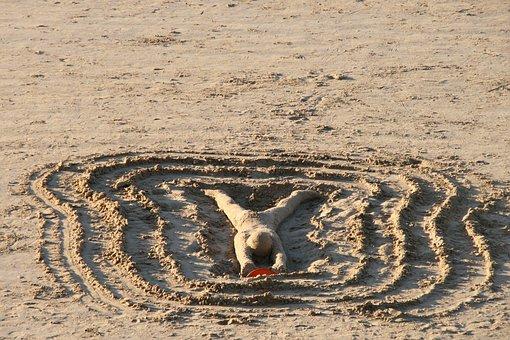 Sand, Man, Beach, Legs, Person, Silhouette