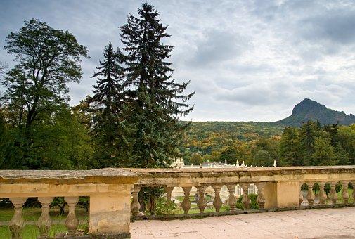 Landscape, Park, Mountain, Rock, Trees, Autumn, Bílina