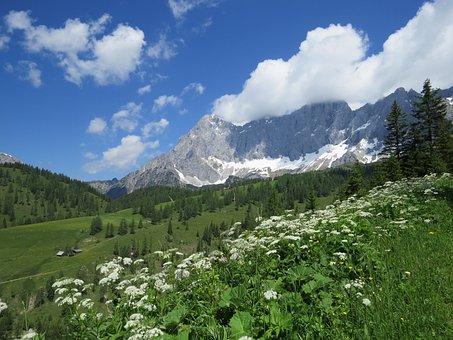 Dachstein, View, Mountains, Austria, Blue Sky, Nature