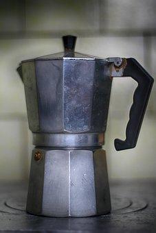 A Coffee Maker, Cuban, Coffee, Metal, Aluminium, Drink