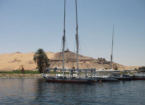 Boats, River, Egypt, Nile, Water, Desert, Transport