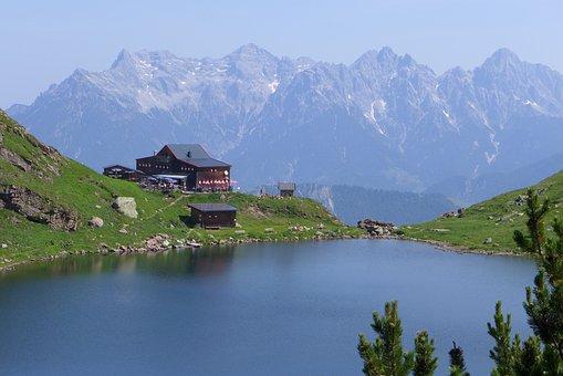 Wildseeloder House, Kitzbühel, Hut, Mountain Hut, Lake