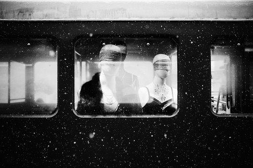Spooky, Train, Dolls, Mannequin, Blindfolded, Dark