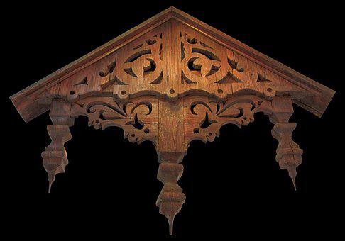 Canopy, Old, Wood, Front Door Canopy, Ornaments