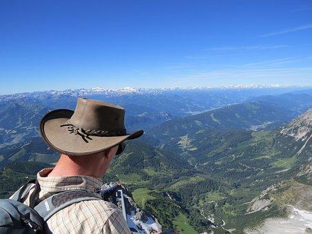 Dachstein, Austria, Mountains, View, People, Hat