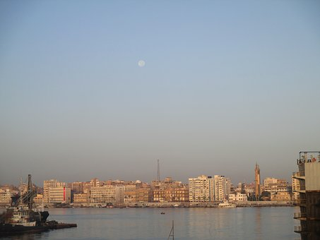 Sea, Suez Canal, Moon, Boats, Sky, Port, Ship, Daytime