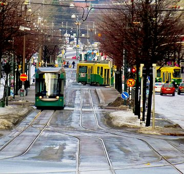 Road, Street, Tram, Track, Trees, Cars, City, Cold