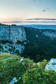 Creux Du Van, Rock Wall, Evening, Bergtour, Blue Hour