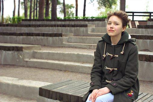 Girl, Teen, Park, Coat, Autumn, Youth, Russian, Dreamy