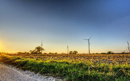 Windräder, Wind Power, Sunset, Mood, Energy, Blue