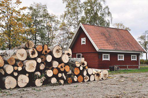 Cottage, House, Red, Logs, Wood, Tree, Autumn, Sweden