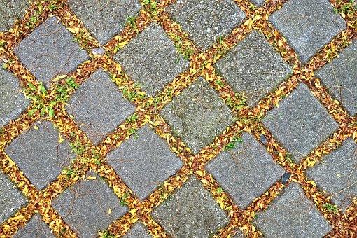 Pavement, Tile, Stone, Pattern, Leaves, Sidewalk