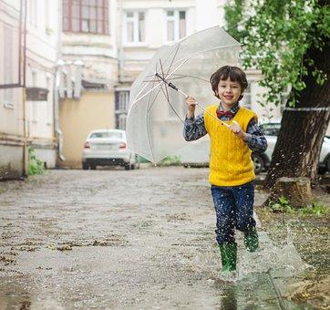 Umbrella, Puddle, Kid, Baby, Kids, Boy, Maxim, Rain