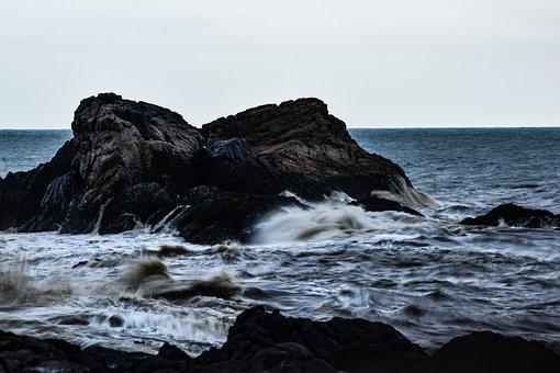 Ocean, Moody, Waves, Rock, Sea, Weather, Storm, Dark