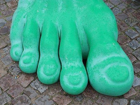 Feet, Giant Feet, Green, Ten, Stand, Wait, Art