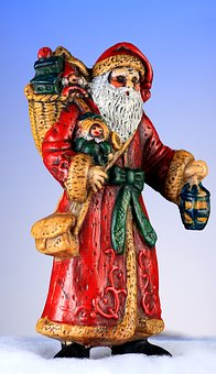 Santa, Vintage Ornament, Christmas Card, Xmas