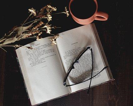 Open Book, Reading Glasses, Mug, Coffee Mug