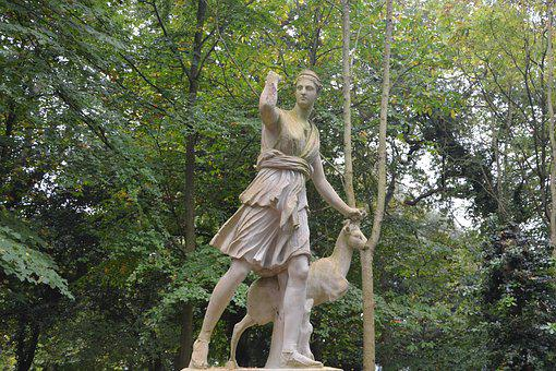 Statue, Diana Goddess Of The Hunt, Wild Nature