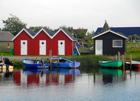 Port, Denmark, Fishing Village, Homes, Red, Water