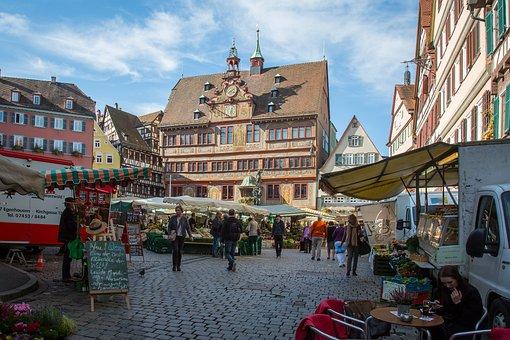 Tübingen, Town Hall, Marketplace, Frescos