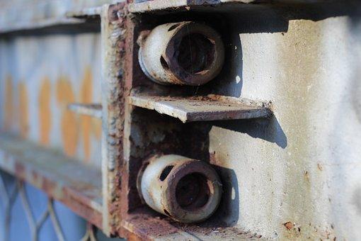 Bolt, Bridge, Iron, Steel, Rust, Paint, Holes, Cobweb