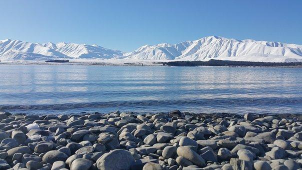 Snow, Water, Ice, Landscape, Mountain, Sea, Tekapo, Nz