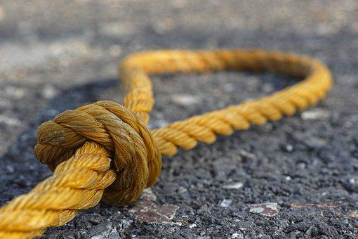 Rope, Yellow, Connect, Old, Macro, Node, Close