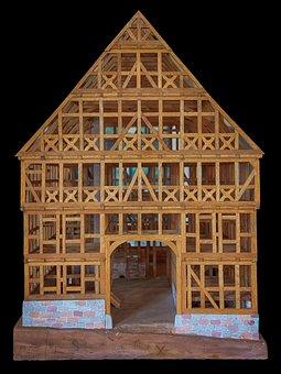 Model, Fachwerkhaus, Replica, Truss, Bar, Oak, Old