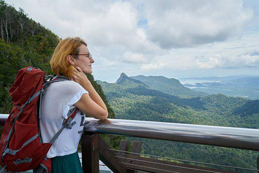 Tourist, Girl, Women's, Bag, Landscape, Mountain