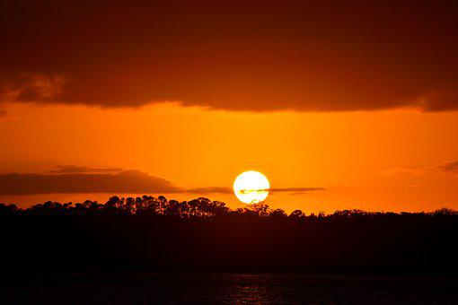 Sunset, River, Water, Orange Color, Sky, Travel, Nature