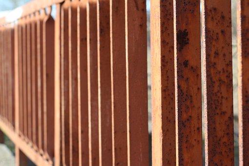 Fence, Rust, Bridge, Iron, Paint, Orange, Brown, Sun