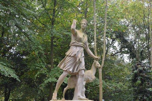 Statue, Diana Goddess Of The Hunt, Wild Nature