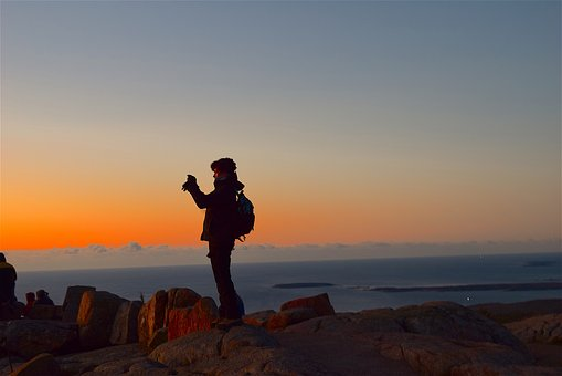 Sunrise, Mountain, Watching, Person, Nature, Sky
