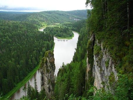 River, Island, Nature, Sky, Forest, Perm Krai, Travel