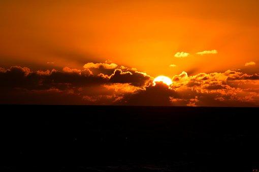 Sunrise, Ocean, Orange Color, Florida, Usa, Sea, Water