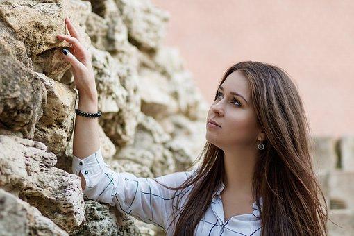 Portrait, Wall, Stone Wall, Stone, Girl, Female, Woman