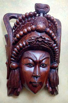 Wooden Asian Mask, Chinese Mask, Wood Carving, Mask