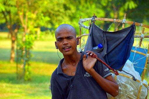 Street Vendor, Papadum Seller, Young Man