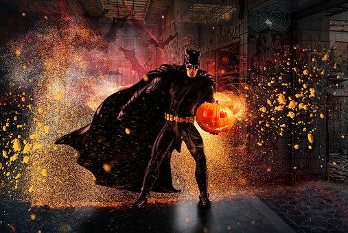 Halloween, Bat, Batman, Superhero, Pumpkin, Gloomy