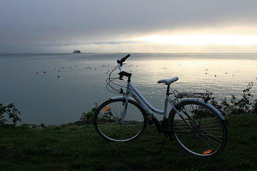 Morning, Bike, Landscape, Sunrise, Lake, Relax, Dawn