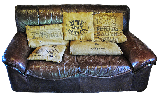 Couch, Sofa, Jute Bags, Old, Vintage, Leather Sofa