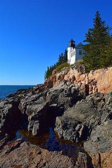 Lighthouse, Rocks, Trees, Shoreline, Ocean, Pine Trees