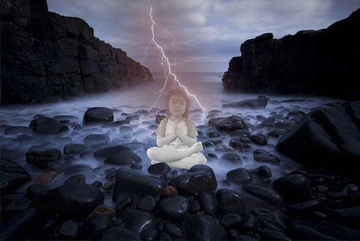 Enlightenment, Lightening, Water, Rocks, Meditation
