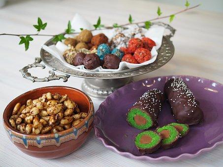 Raw Balls, Christmas Candy, Marzipan, Nougat, Almonds