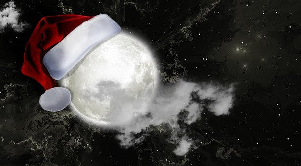Moon, Christmas, Santa Hat, Nicholas, Santa Claus